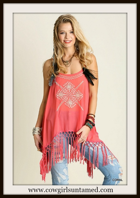 BOHEMIAN COWGIRL TOP Coral Fringe Embroidered Boho Top