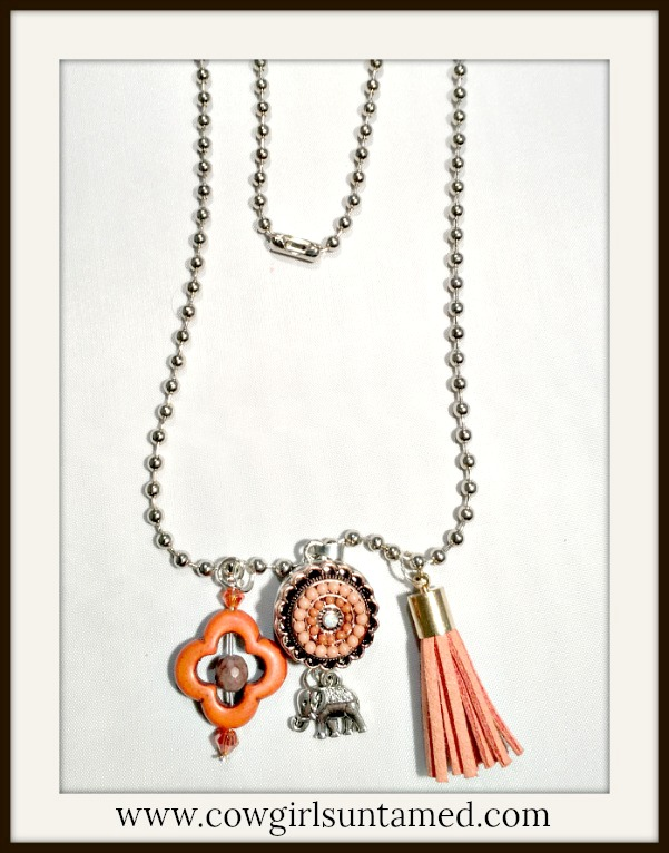 BOHEMIAN COWGIRL NECKLACE Coral Tassel Turquoise Silver Charms Elephant Snap Necklace