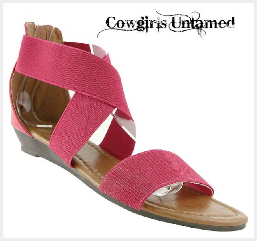 COWGIRL GYPSY SANDALS Pink Stretchy Strappy Low Wedge Heel Boho Gladiator Sandals