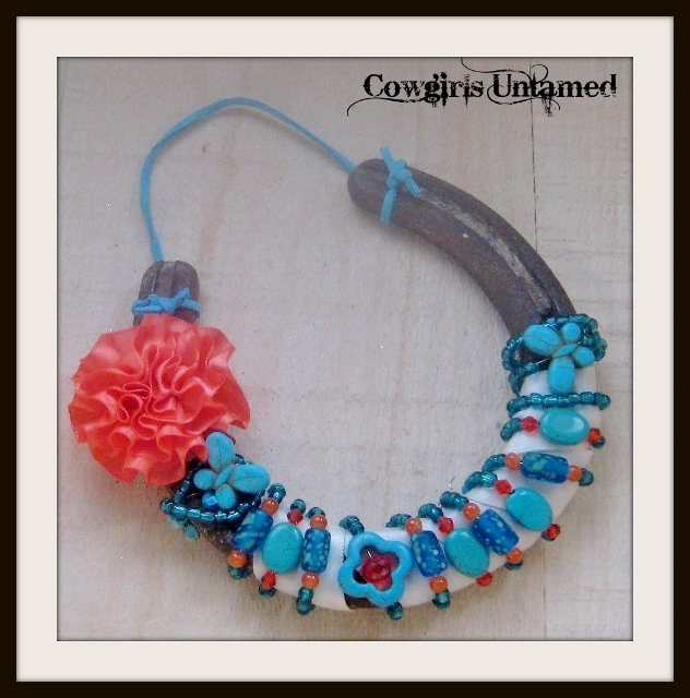 WESTERN COWGIRL DECOR Rustic Vintage Horseshoe Coral Flower Turquoise Butterfly Flower N' Teal Beads Crystals Turquoise Genuine Suede Hanger