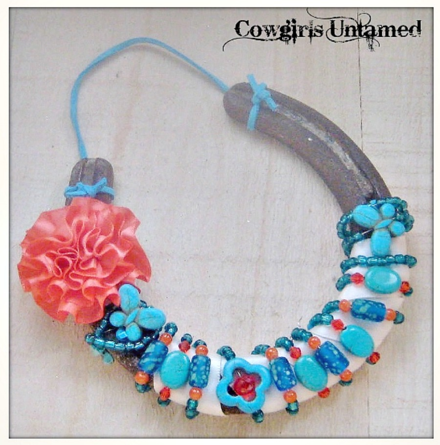 WESTERN COWGIRL HOME DECOR Rustic Vintage Horseshoe Coral Flower Turquoise Butterfly Flower N' Teal Beads Crystals Turquoise Genuine Suede Hanger