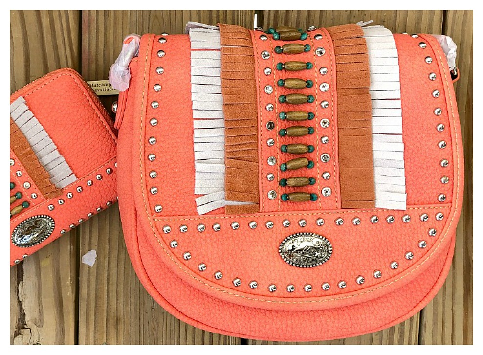 BOHEMIAN COWGIRL CROSSBODY Silver Crystal Studded Beaded Fringe Coral Crossbody Bag