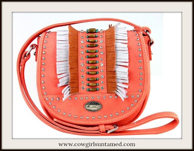 BOHEMIAN COWGIRL HANDBAG Silver Crystal Studded Beaded Fringe Coral Crossbody Bag