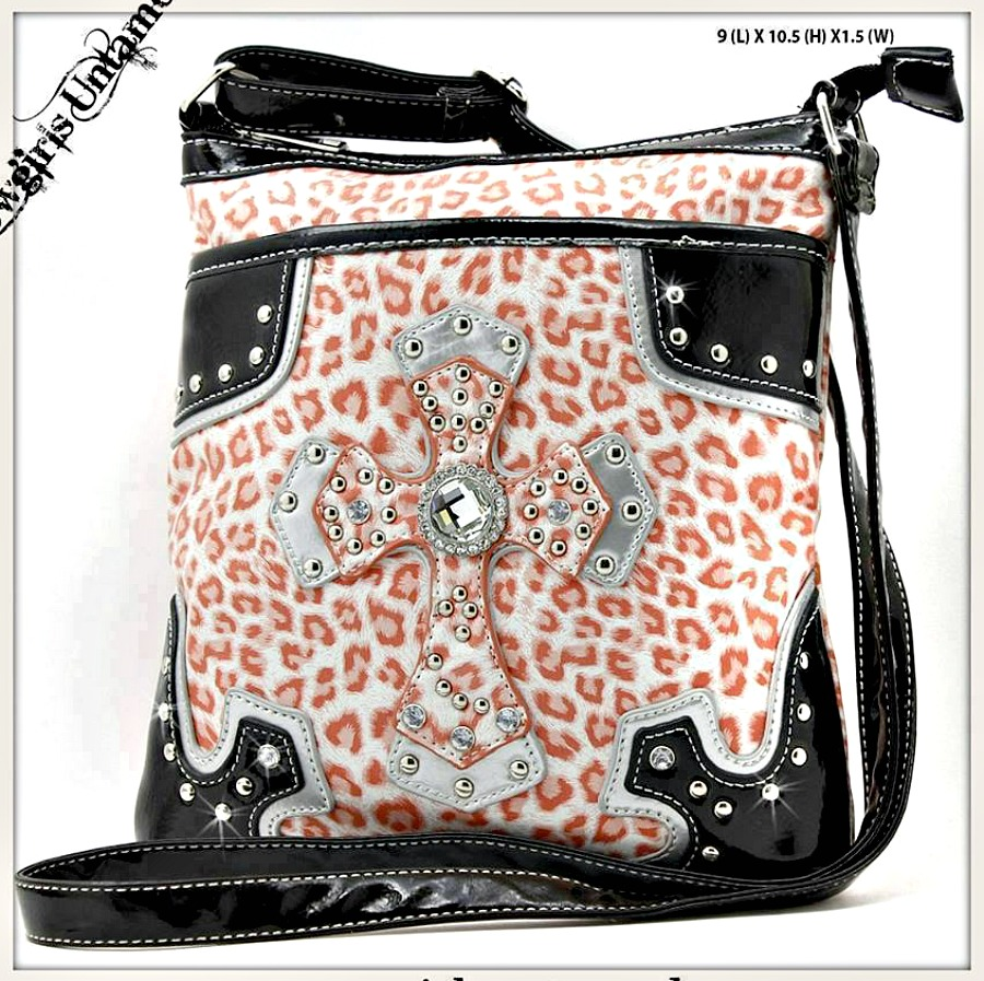 COWGIRL GLAM MESSENGER BAG Rhinestone Studded Cross on Orange Cheetah Leather Bag