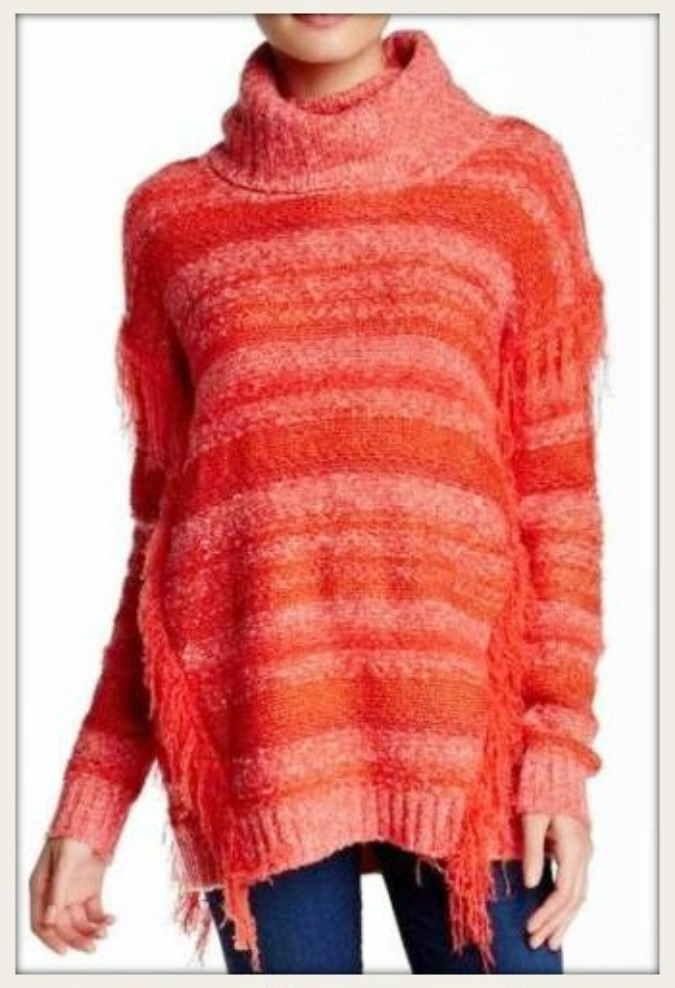 THE KENSIE SWEATER Coral Orange Coral Striped Fringe Designer Sweater LAST ONES S or M