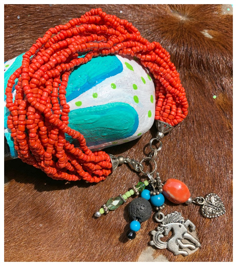 COWGIRL STYLE BRACELET Handmade Multi Strand Coral Beaded Bracelet with Western Charm
