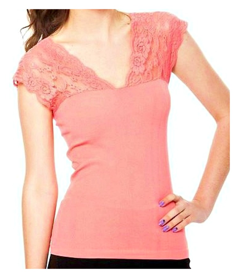 PRETTY in LACE TOP Coral Lace Shoulder Boho Top