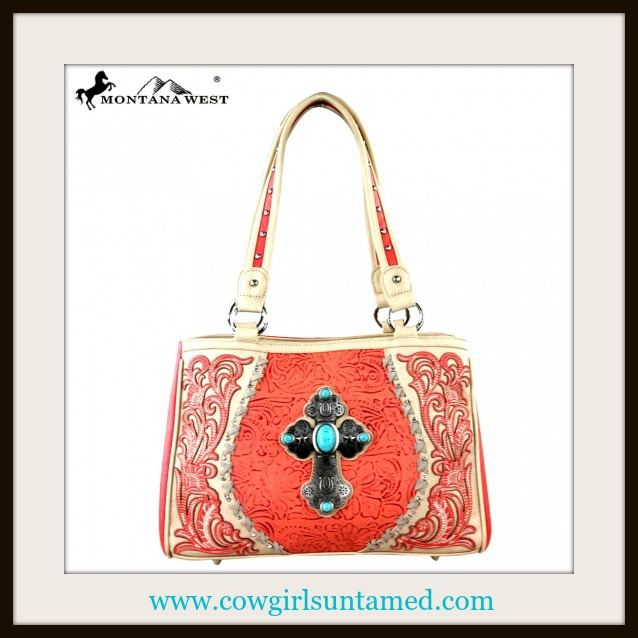 CHRISTIAN COWGIRL HANDBAG Antique Silver & Turquoise Cross on Embossed Coral Handbag