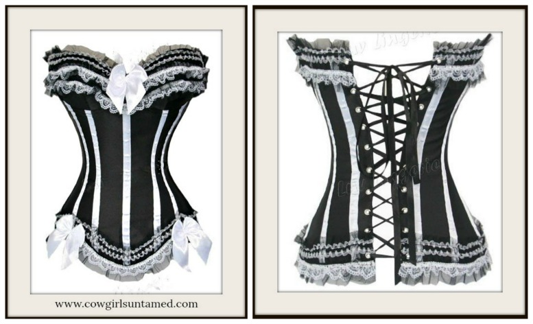 4a01245e45 Wild West Black Satin and White Lace with lace Up Back Western Corset Top