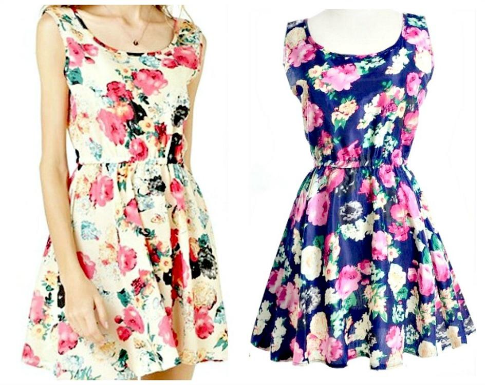 WILDFLOWER DRESS Floral Sleeveless Mini Dress 2 COLORS!