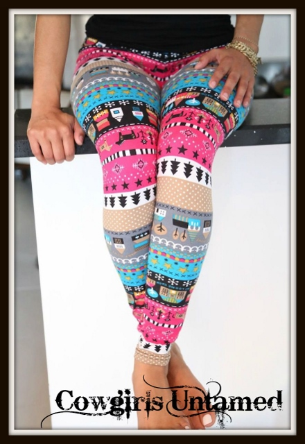 COUNTRY COWGIRL LEGGINGS Multi Color Country Graphics With Horse Western Leggings