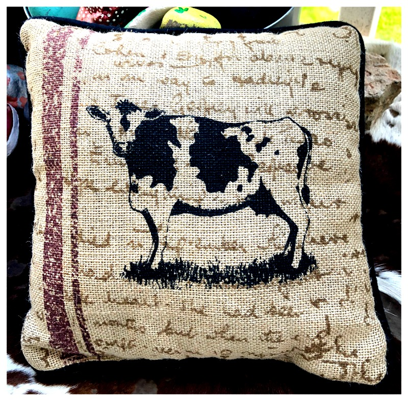 FARMHOUSE DECOR Black Cow Red Stripe Brown Writing on Khaki Burlap Small Accent Pillow LAST ONE!