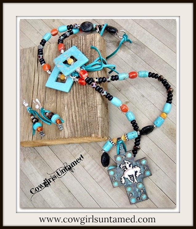RODEO REBEL NECKLACE SET Bucking Horse N Cowboy Cross Pendant on Long Beaded Western Necklace & Earrings Set