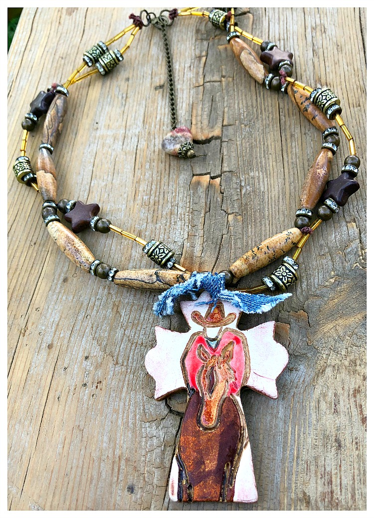 COWGIRL STYLE NECKLACE Custom Cowboy Cross Pendant on Double Strand Gemstone Necklace