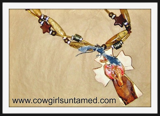 COWGIRL STYLE NECKLACE Cowboy Cross Pendant on Double Strand Gemstone Necklace