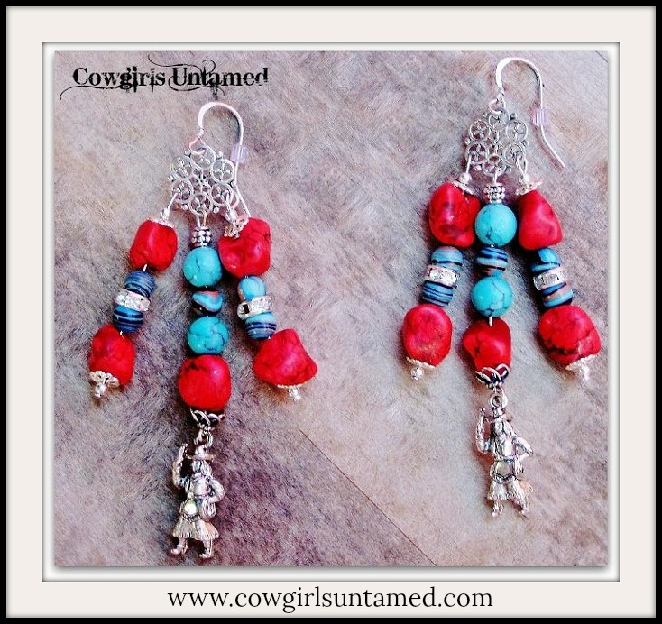COWGIRL STYLE EARRINGS Red & Aqua Turquoise Rhinestone 925SS Cowgirl Charm Earrings