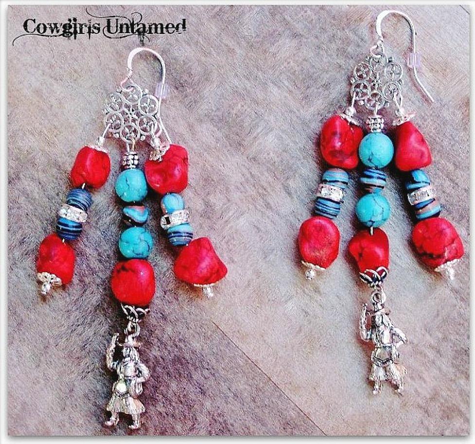 COWGIRL STYLE EARRINGS Custom Red & Aqua Turquoise Rhinestone 925SS Cowgirl Charm Earrings