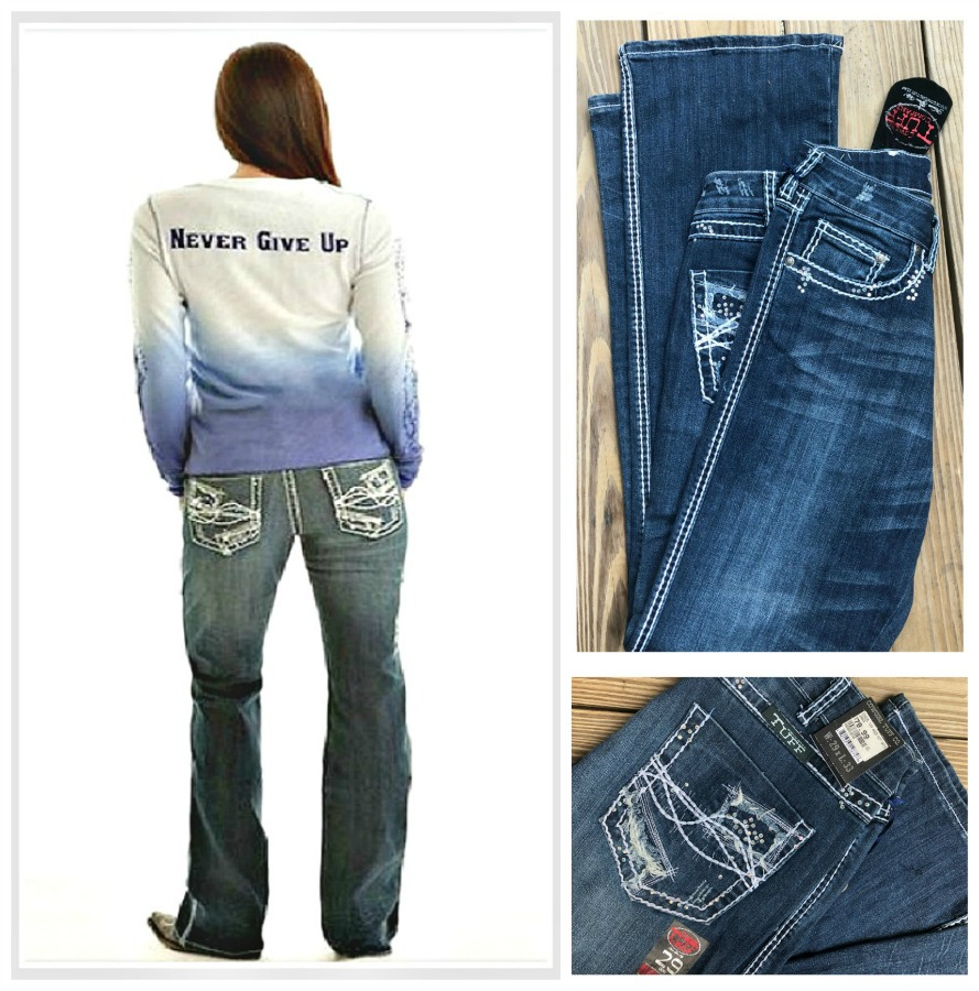 COWGIRL TUFF JEANS Patchwork and Crystal Pocket Boot Cut Western Jeans