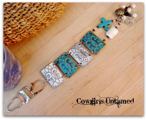COWGIRL GYPSY CUFF White & Aqua Turquoise Cross Crystal Charm Metal Western Cuff Bracelet
