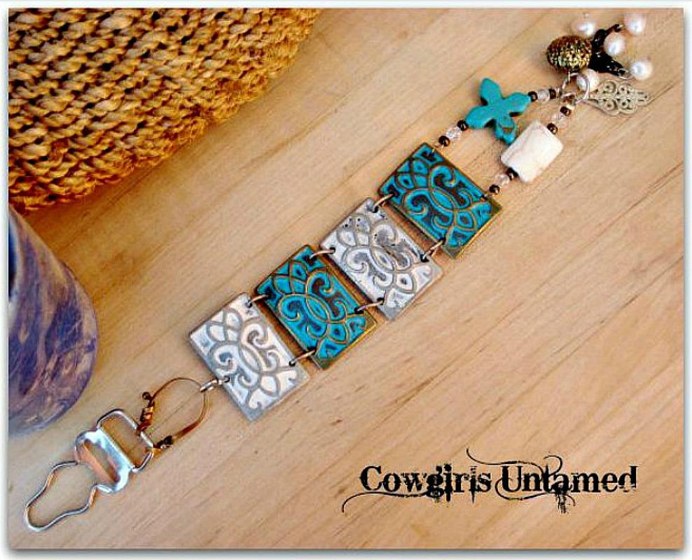 COWGIRL GYPSY CUFF White & Aqua Turquoise Cross Crystal Charm Metal Cuff Bracelet