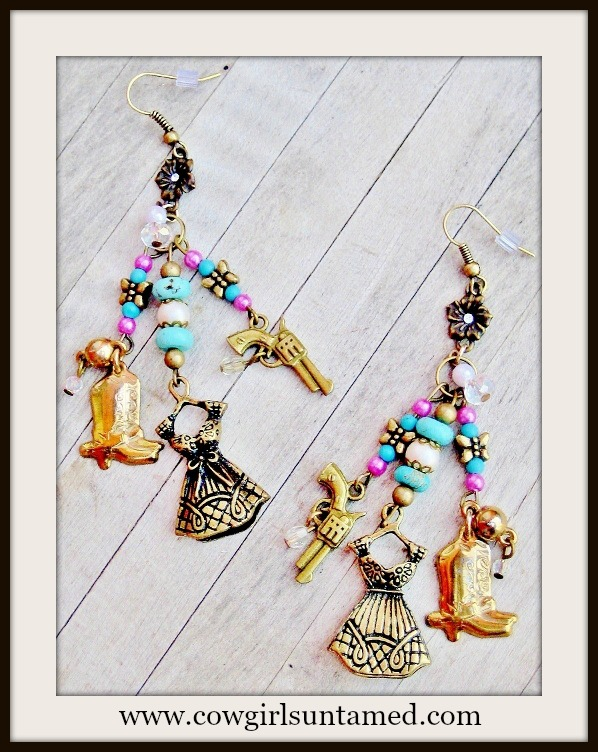 COWGIRL ATTITUDE EARRINGS Pink Turquoise Butterfly Pearl Boot Dress Pistol Charm Long Western Earrings