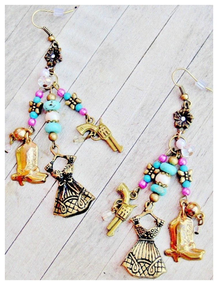 GIRLS NIGHT OUT EARRINGS Pink Turquoise Butterfly Pearl Boot Dress Pistol Charm Long Western Earrings
