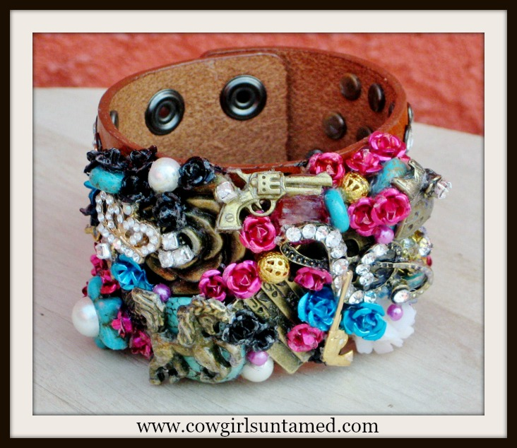 COWGIRL ATTITUDE CUFF Dress Crown Horse Pistol Music Turquoise Pink Rhinestone Collage Leather Bracelet
