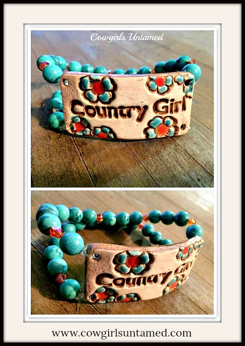 "COUNTRY COWGIRL CUFF ""Country Girl"" Orange Crystal & Turquoise Double Stranded Western Bracelet"