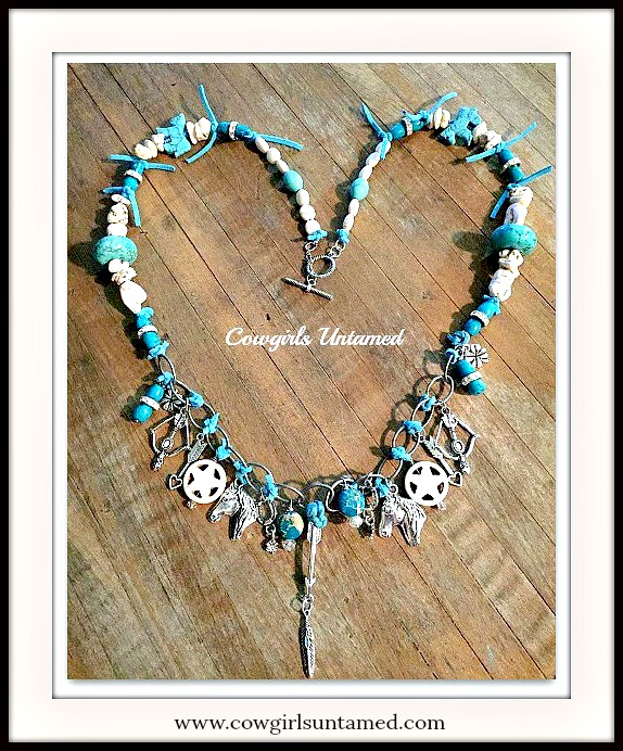 VINTAGE COWGIRL NECKLACE Copper Patina Lock Key Heart Horse Shoe Charm Turquoise and Gemstone Necklace