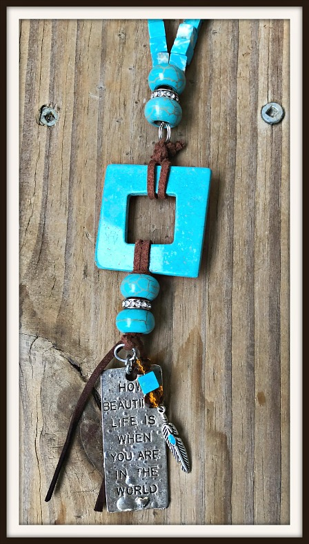 Vintage Cowgirl Copper Turquoise Stone With Lock Key Horse