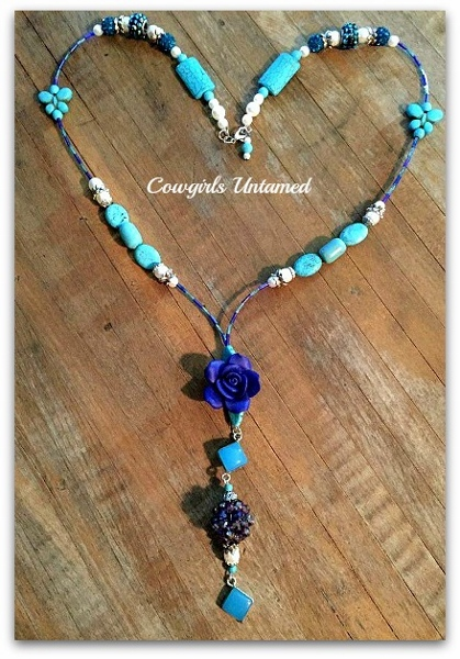 WILDFLOWER NECKLACE Sterling Silver with Chalcedony Gemstone Pearl Cobalt Blue Flower Pendant on Beaded Boho Necklace