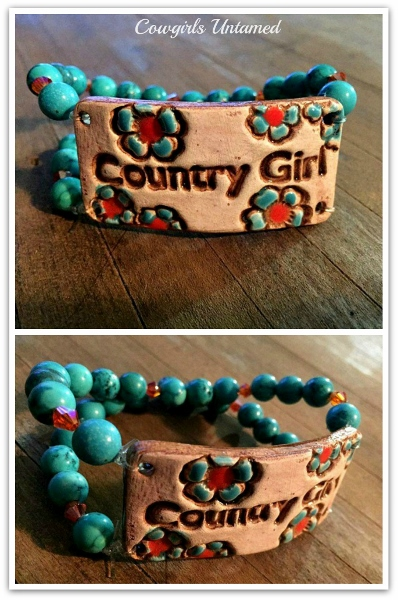 """COUNTRY COWGIRL CUFF """" Country Girl"""" Orange Crystal & Turquoise Double Stranded Western Bracelet"""