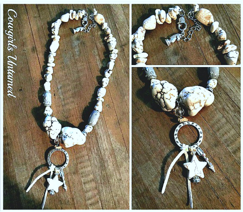 WESTERN COWGIRL NECKLACE Chunky White Turquoise & Grey Beaded with Suede Tassel Western Charms Necklace