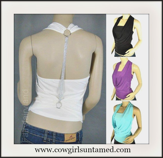 COWGIRL GLAM TOP Draped Neckline with T Shape Jeweled Back Western Top