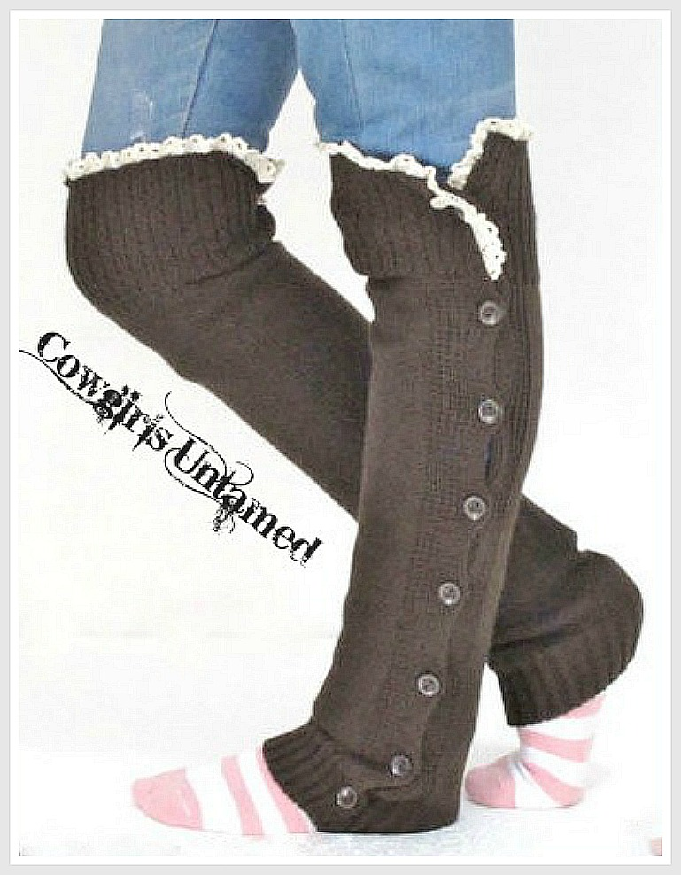 COWGIRL GYPSY LEG WARMERS Lace Crochet with Button Accent Knit Leg Warmer Boot Socks