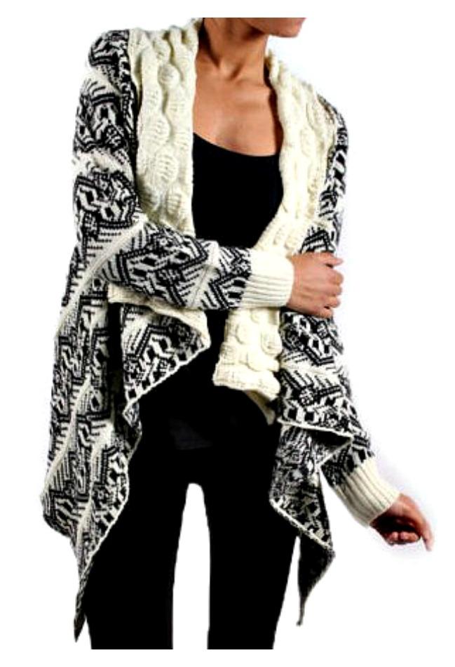 COWGIRL GYPSY SWEATER Cream Collar Black Boho Pattern Dolman Sleeve Cardigan