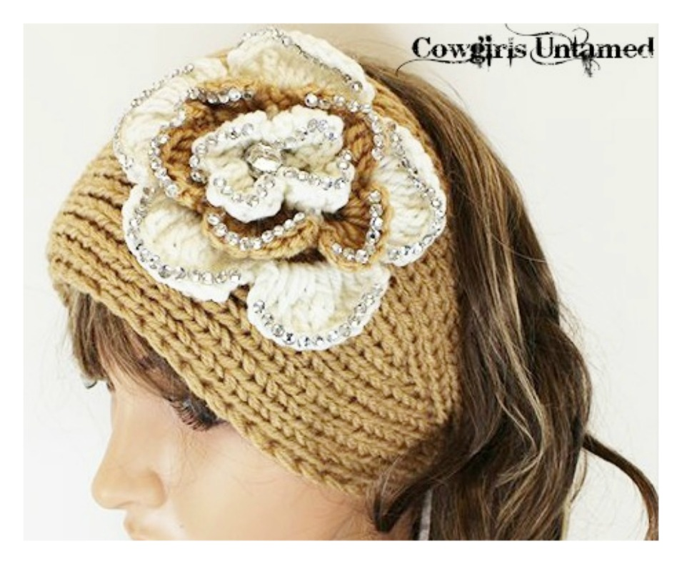 WILDFLOWER HEADBAND Cream N' Khaki Sparkly Flowers on Khaki Wool Knit Headband