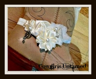 WILDFLOWER BOOT GARTER  Cream Silk & Fabric Flowers with Pearl & Antique Silver Horseshoe Charm Accents on Stretchy Cream Band Boot Cuff