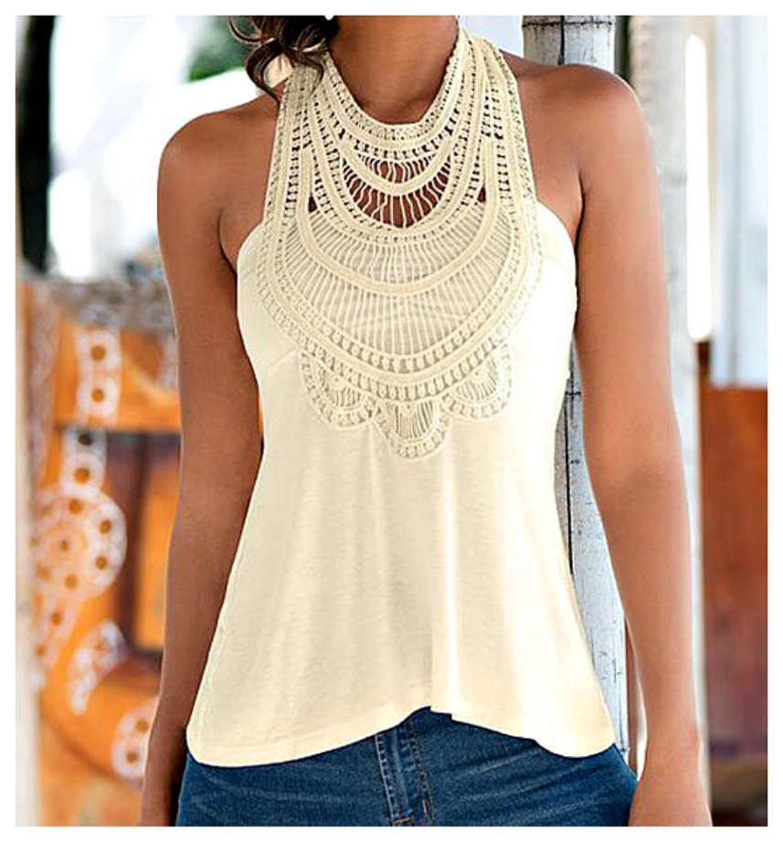 THE JASMINE TOP Cream Crochet Lace Criss Cross Back Boho Top