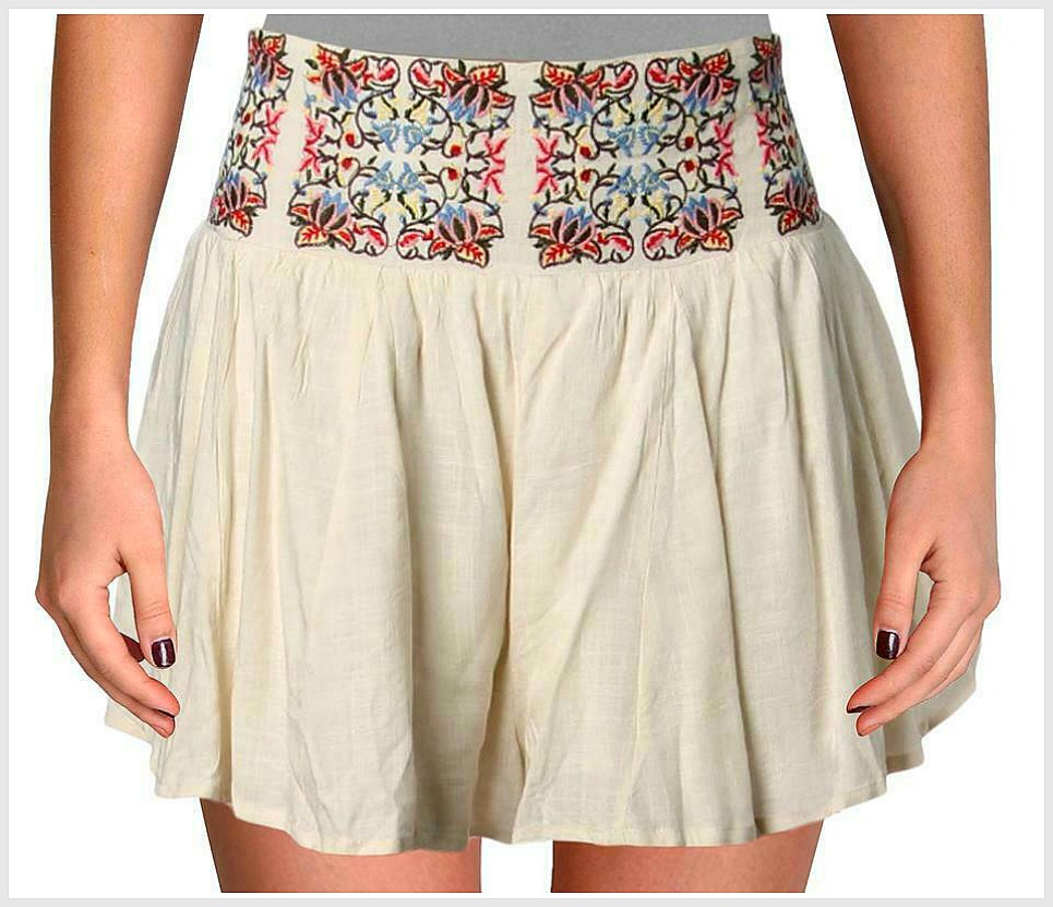 COWGIRL GYPSY SHORTS Multi Color Floral Embroidered Smocked Back High-Waist Cream Boho Shorts  S/M, M/L