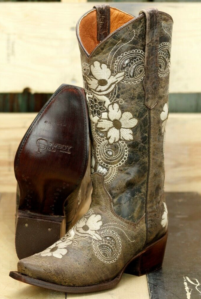 WILDFLOWER BOOTS Off White & Brown Embroidered Floral Snake Inlay Genuine Leather Cowgirl Boots SIZES 5-11 $224.99