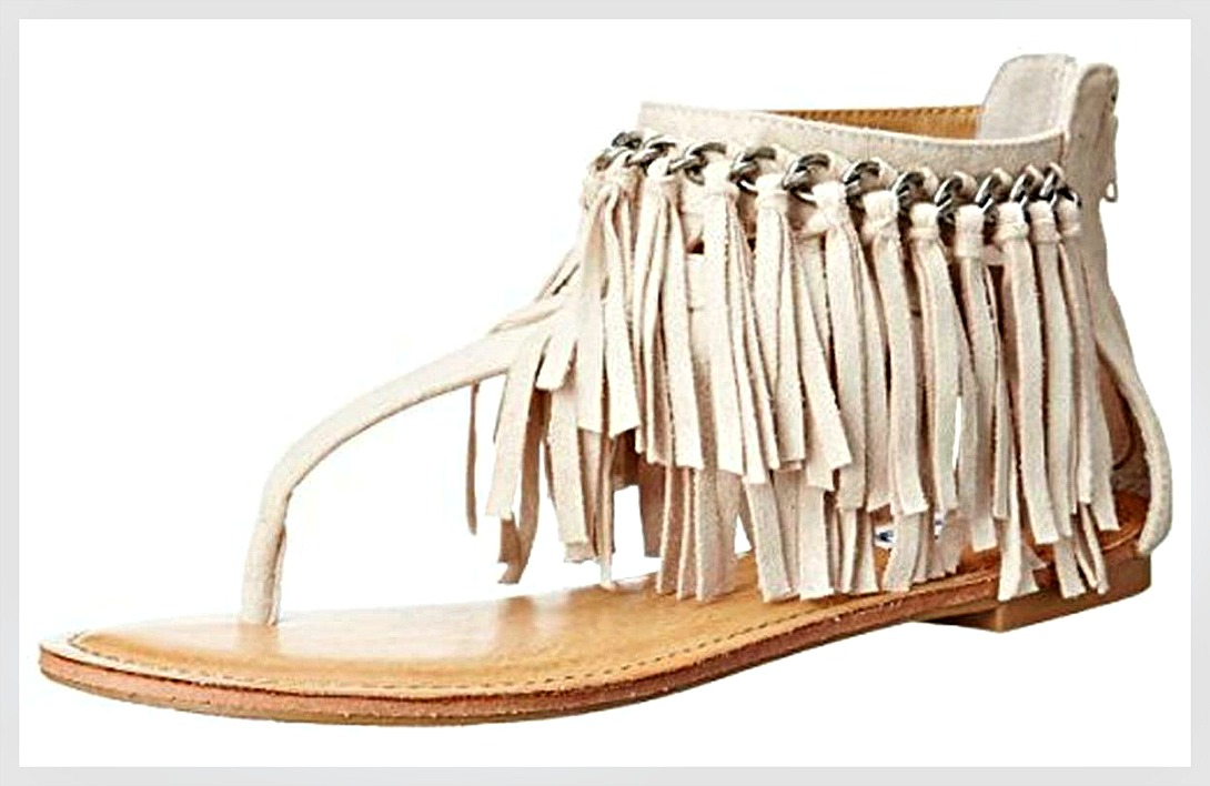 ON THE FRINGE SANDALS Silver Chain Cream Fringe Suede Zip Back Thong Boho Sandals 8-11