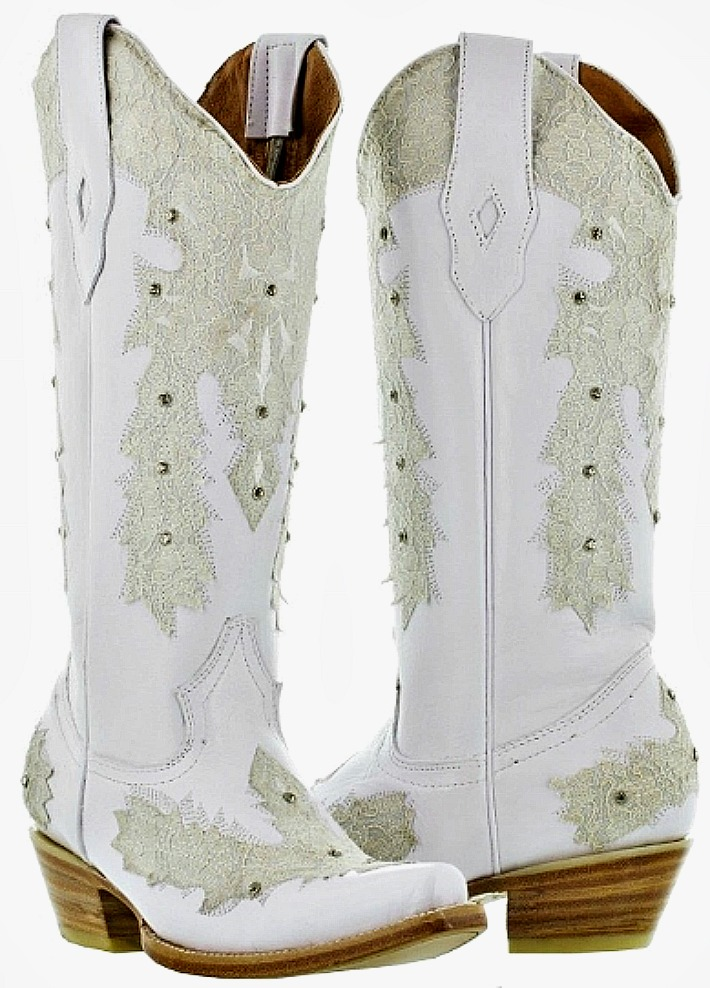 WILDFLOWER BOOTS Lace & Rhinestones on White GENUINE LEATHER Cowgirl Boots SOLD OUT