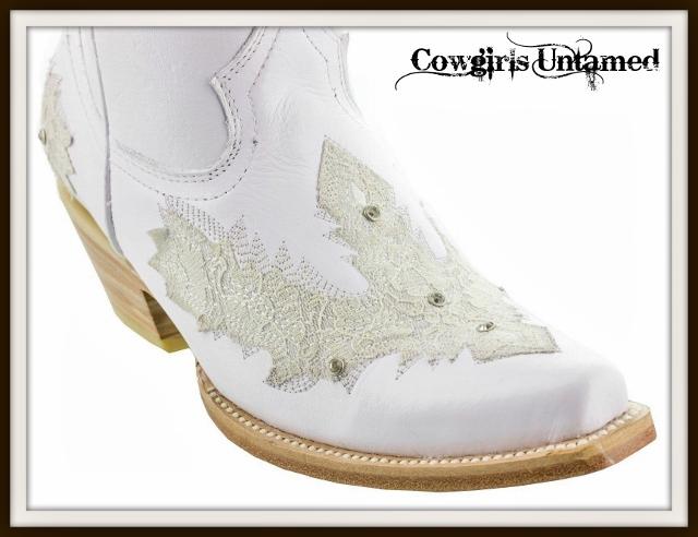 Wild Flower Boots Lace Rhinestones On White Genuine