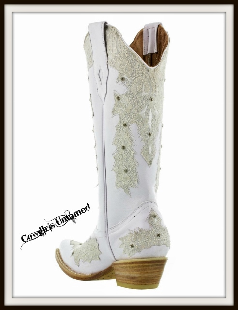 Wild Flower Boots Lace Amp Rhinestones On White Genuine