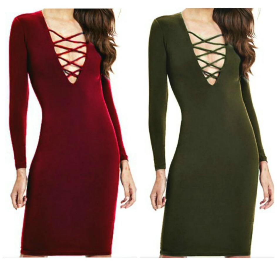 ON THE PROWL DRESS Criss Cross Lace Up Deep V Neckline Bodycon Dress ONLY 2 LEFT!