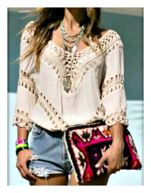 WILDFLOWER TOP Lace Crochet and Cotton Hi Low Hem Boho Top