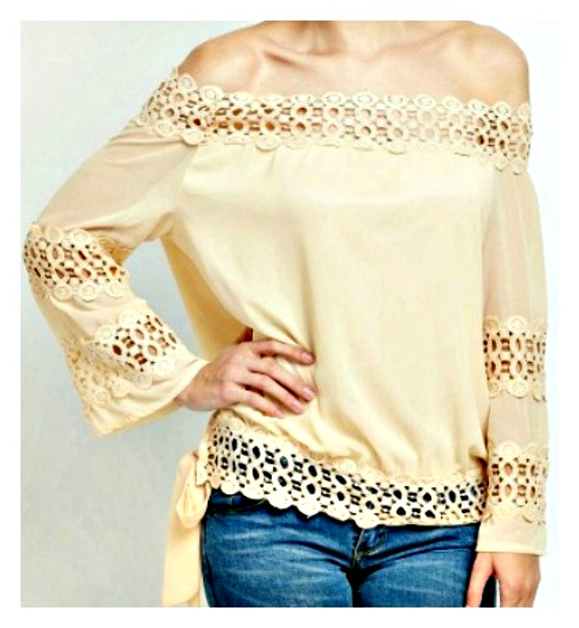 f8d31ad295b920 WILDFLOWER TOP Apricot Lace Crochet Loose Fit Long Sleeve Side Tie Boho Top