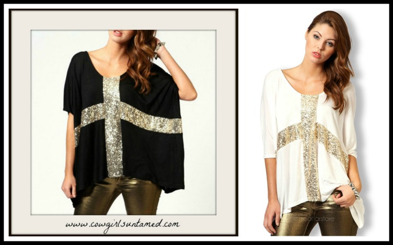 GOING GLAM TOP Golden Sparkle Cross Black Batwing Oversized Top