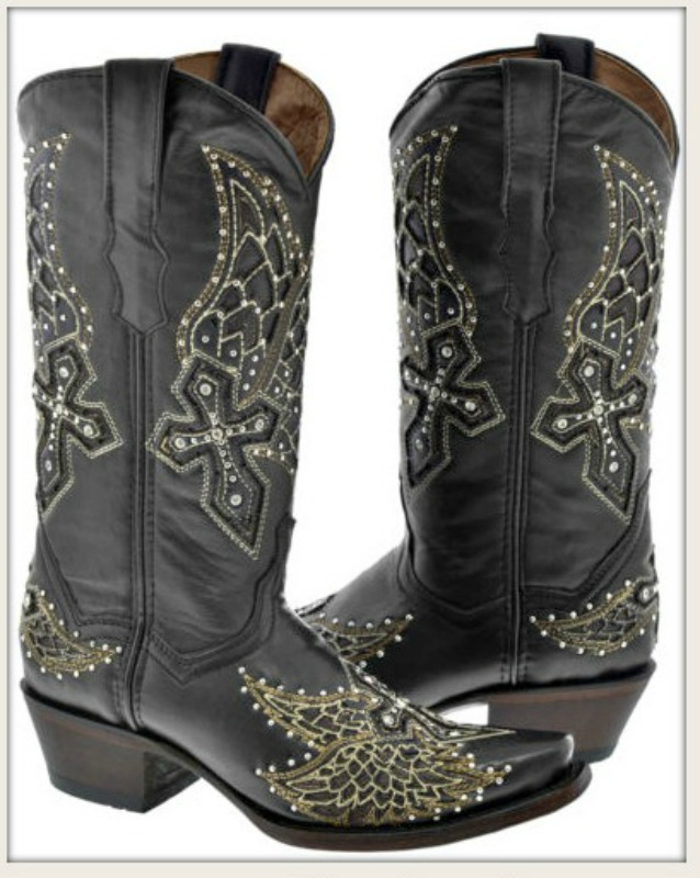 RODEO REBEL BOOTS Silver and Crystal Studded Angel Wings & Cross Black Leather Cowgirl Boots ONLY 6 or 8 LEFT